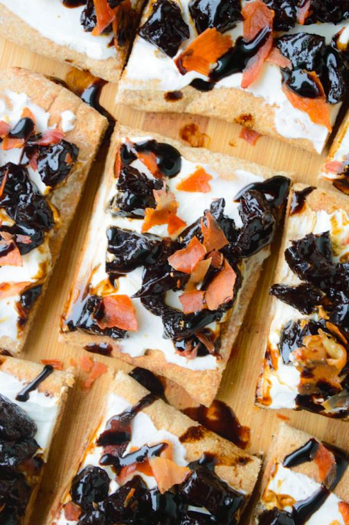 Creamy Goat Cheese, Crispy Prosciutto & Balsamic Glazed Prune Flatbreads