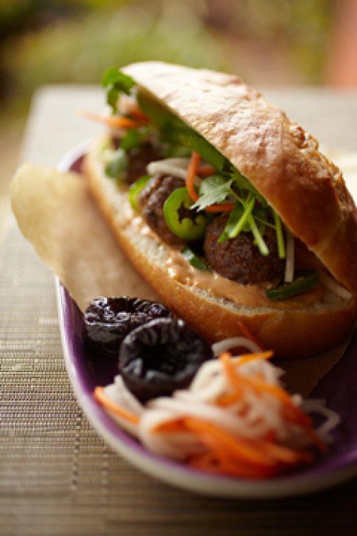 Vietnamese Turkey Meatball California Prune Banh Mi Sandwich