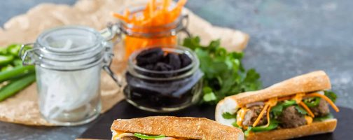 Vietnamese Turkey Meatball California Prune Banh Mi Sandwich