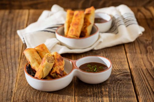 Lumpia with Prune Purée Chili Sauce