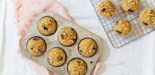 prune, banana, peanut butter muffins