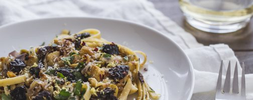 Caramelized Cauliflower Fettuccine Pasta with California Prunes, Garlic, and Herbs