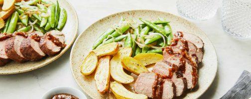 California Prune-Glazed Pork Tenderloin with Fingerling Potatoes and Sugar Snap Peas