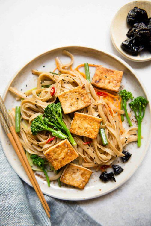 Tofu Stir Fry Noodles with Prune Sauce