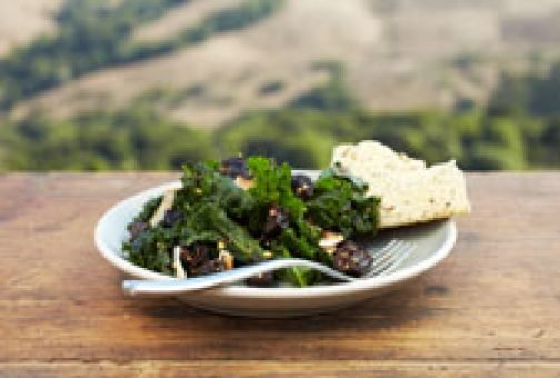 Sauteed Kale with Prunes and Coconut