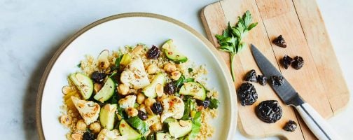 Pan-Roasted Cauliflower and Chickpeas with CA Prunes and Almonds