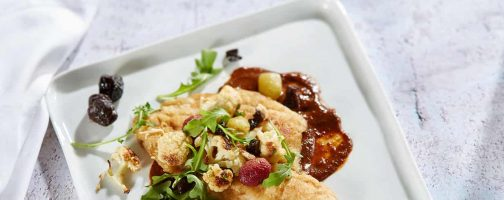 Petrale Sole with Cauliflower, Roasted Grapes and Prune Chipotle Sauce