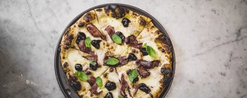 Pizza with California Prune Jam, Balsamic-Glazed Bacon, and Fresh Mint