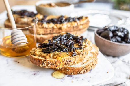 Prune, Nut Butter, and Honey Sandwich